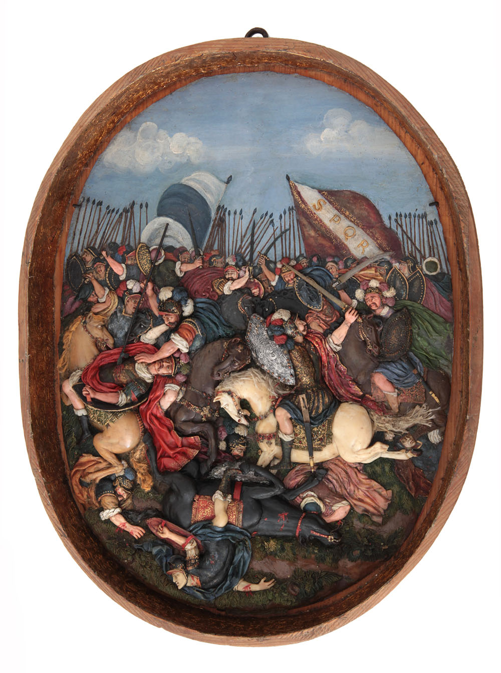 Ceroplasta sconosciuto Battaglia di cavalieri romani seconda metà del XVII secolo