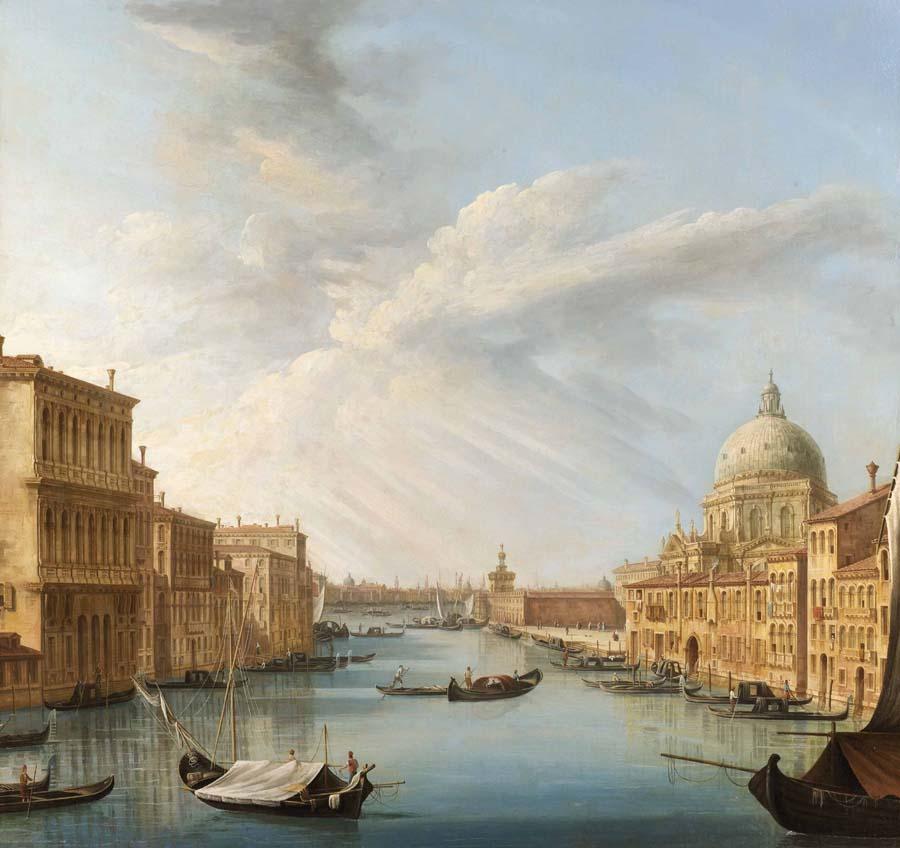 Pietro Bellotti, L' ingresso del Canal Grande con la basilica della Salute - Ginevra, collezione privata