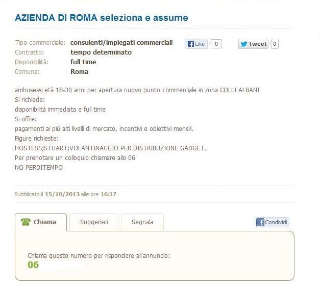 hostess stuart volantinaggio a Roma