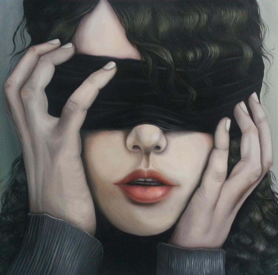 Dea bendata contemporanea, olio su tela di Olga Marciano