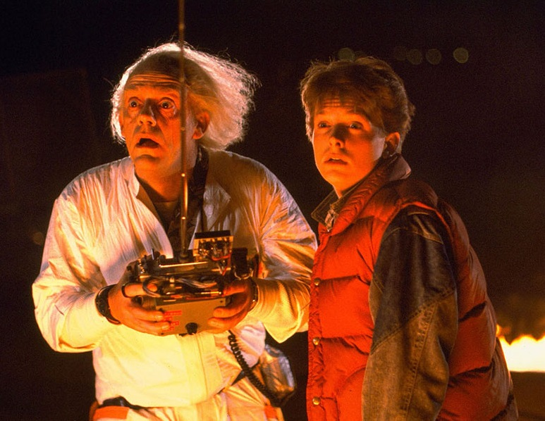 Michael J. Fox e Christopher Lloyd in Ritorno al futuro