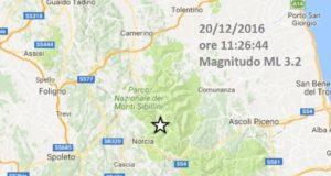 Terremoto oggi 20 dicembre 2016 - Perugia