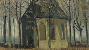 Una congregazione che esce dalla Chiesa Riformata di Nuenen di Van Gogh