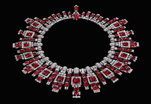 Collana di rubini di Cartier in platino, rubini e diamanti
