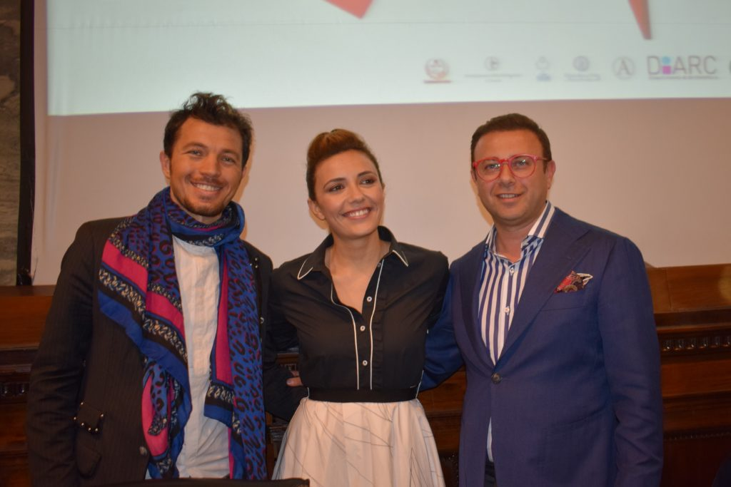 Serena Rossi con Maurizio Martiniello e il tenore Giuseppe Gambi