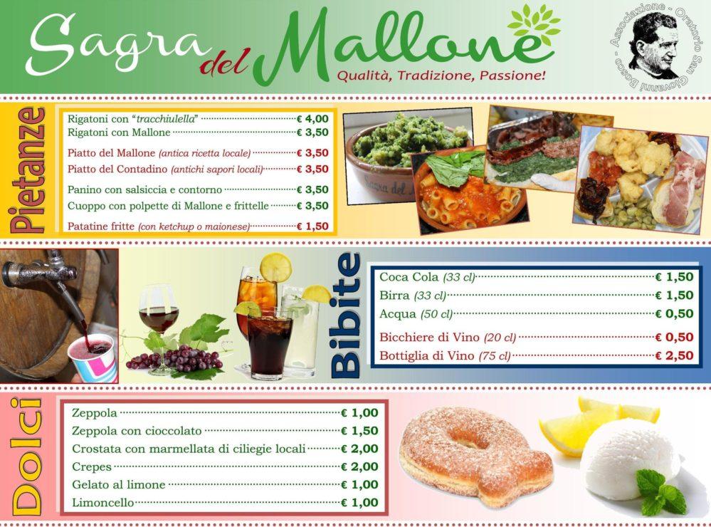 Sagra del Mallone menu 2018, Bracigliano