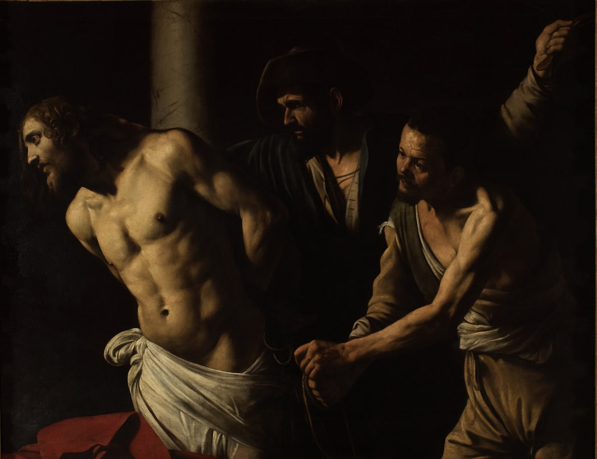 Caravaggio, Flagellazione, olio su tela del 1607, Musée des Beaux-Arts-min