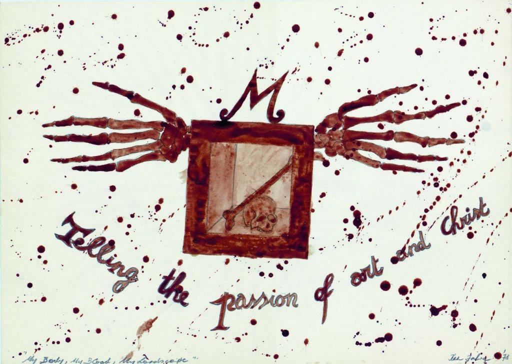Jan Fabre al Museo di Capodimonte con Telling the Passion of Art and Christ, 1958, Matita HB e sangue su carta