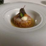sashimi di spigola con maionese all'aglio e pomodoro ramato in consommé di acqua pazza e fresella sbriciolata